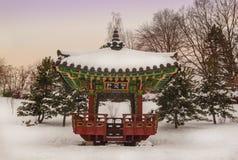 Koreaanse traditionele tuin en pagode in een openbare tuin in Kiev Stock Foto's
