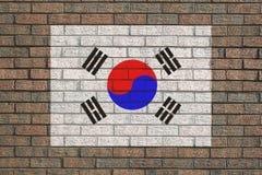 Koreaanse vlag op bakstenen muur vector illustratie
