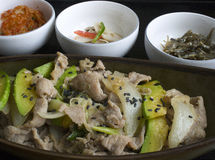 Korean's pork bulgogi. With side dish Royalty Free Stock Photo