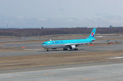 Korean Air Airbus 330. On a taxiway at New Chitose Airport in Chitose, Hokkaido, Japan Stock Photo