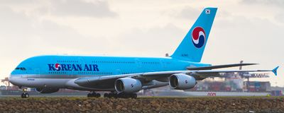 Korean Air Airbus A380 at Sydney Airport Royalty Free Stock Image