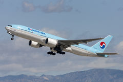 Korean Air Boeing 777 taking off from Los Angeles International Airport. Los Angeles, California, USA - March 10, 2010: Korean Air Boeing 777 taking off from Stock Image