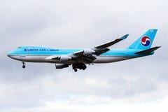 Korean Air Cargo Boeing 747-400 HL7437 cargo plane landing at Frankfurt Airport royalty free stock photos