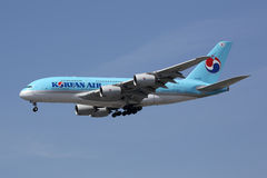 Korean Air flygbuss A380 Royaltyfria Bilder