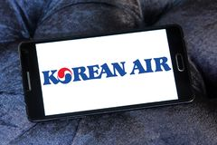 Korean Air logo. Logo of Korean Air on samsung mobile. Korean Air, is the largest airline and flag carrier of South Korea royalty free stock image