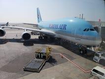 Korean Air-Luchtbus A380 bij JFK stock afbeelding