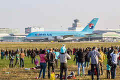 A380 of Korean Air. PRAGUE - MARCH 14: Korean Air Airbus A380-861 taxis at PRG Airport in Prague on March 14, 2014. Korean Air is flag carrier and the largest Stock Photography