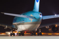 A380 Korean Air. PRAGUE - MARCH 14: A380 Korean Air taxi after landing to terminal PRG in Prague, CZE on March 14, 2014. Blue top livery was introduced on in Stock Image