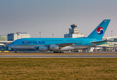 A380 Korean Air. PRAGUE - MARCH 14: A380 Korean Air taxi after landing to terminal PRG in Prague, CZE on March 14, 2014. Blue top livery was introduced on in Royalty Free Stock Image
