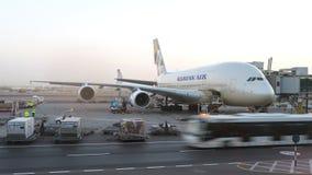 Korean Air A380 samolot utrzymuje przy lotniskiem Konceptualny artykuł wstępny Obraz Stock