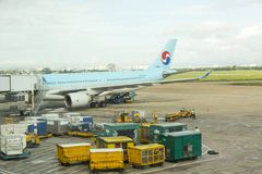 Korean Air at Tan Son Nhat International Airport. Korean Air lat Tan Son Nhat International Airport, Ho Chi Minh city, Vietnam. Korean Air, is the largest Royalty Free Stock Photography