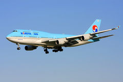 Korean Airlines Boeing 747 in flight. Royalty Free Stock Image