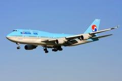 Korean Airlines Boeing 747 in flight. royalty free stock image