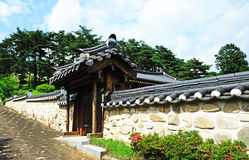Korean ancient wall and gate Stock Image