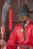 Korean ancient warrior. At the gate with sword, arrows and bow in hands Stock Photos