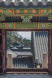 Korean architecture, door entrance to the temple Stock Photography