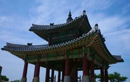 Korean Architecture, Suwon, South Korea. View of the West Command Post - Seojangdae atop Mt Paldalsan. Hwaseong Fortress in Suwon, South Korea  is an UNESCO Stock Image