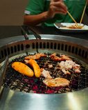 Korean barbecue. Beef, pork, chicken as an ingredient of Korean barbecue royalty free stock photos