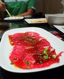 Korean barbecue. Meat, the sauce is a mixture of Korean barbecue stock photo