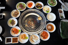 The korean barbeque, with grill table and vegetable set Stock Images