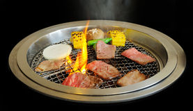 Korean BBQ grill. Food on Korean BBQ grill, meat and vegetable Stock Photos