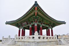 The Korean Bell of Friendship. Is a massive bronze bell housed in a stone pavilion in Angel`s Gate Park, in the San Pedro neighborhood of Los Angeles Royalty Free Stock Photography