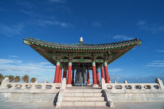 Korean Bell of Friendship. And Bell Pavilion in San Pedro, California, USA. The monument consists of a massive bronze bell housed in a stone pavilion in Angel`s Stock Photos