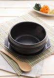 Korean bowl. On bamboo plate stock photos