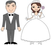 Korean bride and groom. Cartoon illustration of happy korean bride and groom Royalty Free Stock Photos