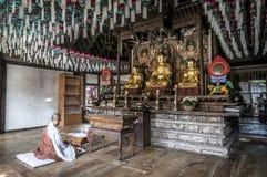 Korean Buddhist temple interior Royalty Free Stock Photography