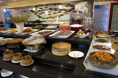 Korean buffet restaurant cuisines. Many typical Korean food served in a buffet restaurant in Busan stock photos