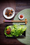 Korean Bulgogi. With ssamjang sauce served with fresh lettuce stock images