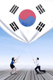 Korean businesspeople pulling down a korean flag Royalty Free Stock Images