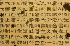 Korean characters. Rows of traditional Korean words and characters Stock Photography
