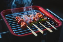 Korean Chicken Barbeque BBQ Skewers stock photo