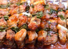 Korean Chicken Skewers Stock Photo