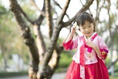 Korean child wearing a Traditional Hanbok Stock Image