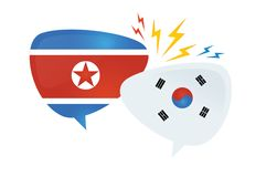 Korean conflict. South and North korean flags on glossy speech bubble. Concept of the asian crisis and competition. Vector illustration Stock Image