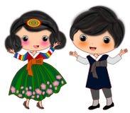 Korean couple costumes. Cartoon illustration isolated of korean couple national traditional costumes royalty free illustration