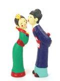 Korean couple dolls. In isolated white Stock Photos