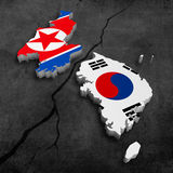Korean crisis. South and north korea break for politicy crisis concept royalty free illustration