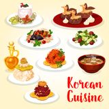 Korean cuisine icon of asian meat and fish dish. Korean cuisine asian food icon with meat and fish dish. Fresh beef and salted trout, served with rice, cucumber Royalty Free Stock Images