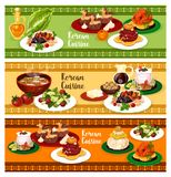 Korean cuisine banner for restaurant menu design. Korean cuisine restaurant banner set of dinner menu design. Rice with chicken and soy sauce, pork soup with Stock Photography