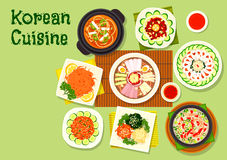 Korean cuisine dishes icon for asian menu design. Korean cuisine asian dishes icon with pyongyang cold noodles, kimchi pork soup, raw cod and beef hoe, marinated Stock Images