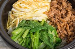 Korean cuisine, egg and  beef Bibimbap Stock Image
