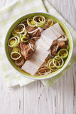 Korean cuisine: Galbitang soup with beef ribs, rice noodles and Stock Photography