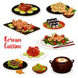 Korean cuisine icon with fish and meat dish. Korean cuisine icon of traditional asian food. Vegetable rice, bbq beef bulgogi, pickled fish and fried shrimp with Stock Photography