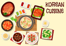 Korean cuisine icon for restaurant menu design. Korean cuisine traditional kimchi vegetables dishes icon with seafood soup, spicy daikon, cucumber cilantro salad Stock Image