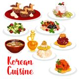 Korean cuisine restaurant lunch icon of asian food. Korean cuisine restaurant dinner icon. Chicken rice, raw ground beef meat and cucumber salad, beef ribs in Royalty Free Stock Photo