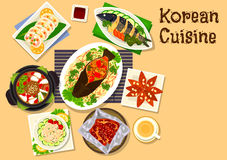Korean cuisine seafood dinner dishes icon Royalty Free Stock Photo